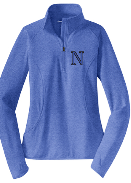 Ladies PosiCharge Competito 1/4-Zip Pullover / True Heather Royal / Norview Swim
