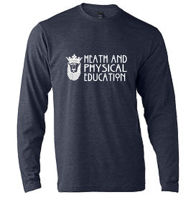 Unisex Poly-Rich Blend Long Sleeve T-Shirt / Heather Navy / ODU HPE - Fidgety