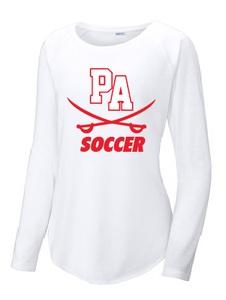 Ladies Long Sleeve Tri-Blend Scoop Neck Raglan Tee / White / Princess Anne High School Soccer