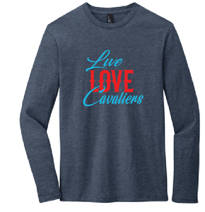 Live Love Cavaliers Long Sleeve Tee / Heather Navy / Princess Anne HS - Fidgety