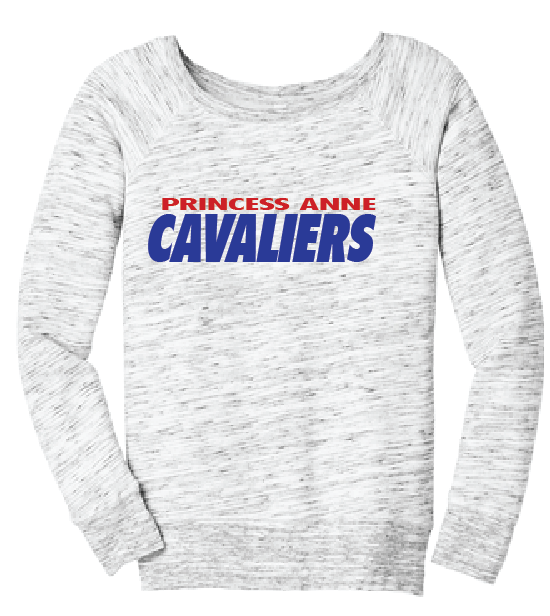 PA Cavaliers Women's Fleece Wide-Neck Sweatshirt / Gray / Princess Anne HS - Fidgety