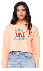 Women's Cropped Fleece Hoodie / Peach / Live Love Calaliers / Princess Anne HS - Fidgety