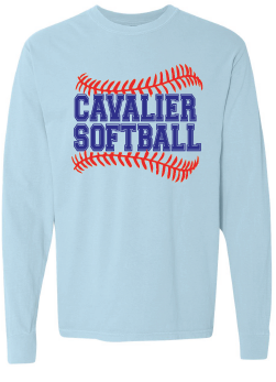 Comfort Colors Heavyweight Ring Spun Long Sleeve Tee / Chambray / PAHS Softball