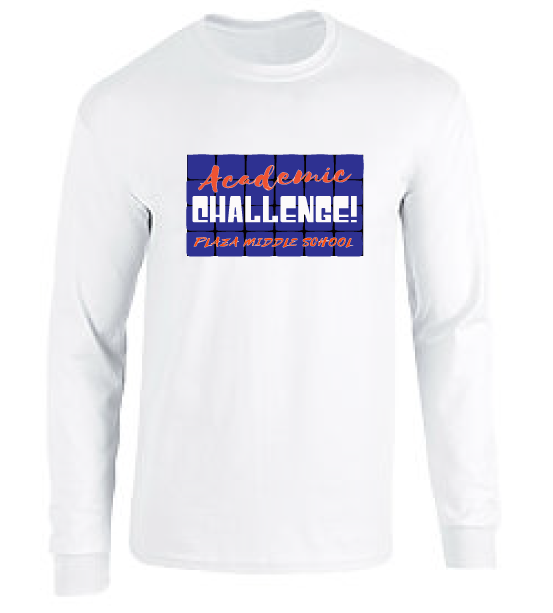 Long Sleeve Cotton T-Shirt / White / Plaza Academic Challenge