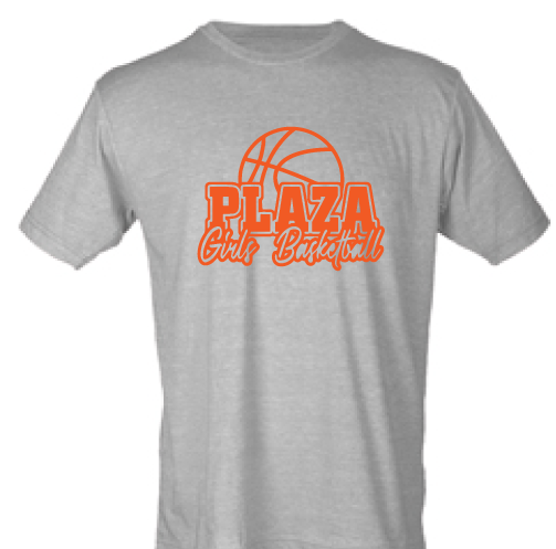 Tri-Blend Short Sleeve T-Shirt / Sport Grey / Plaza Girls Basketball