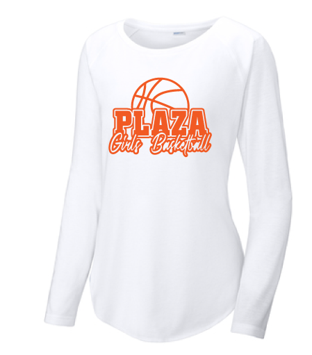 Ladies Long Sleeve Tri-Blend Scoop Neck Raglan Tee / White / Plaza Girls Basketball