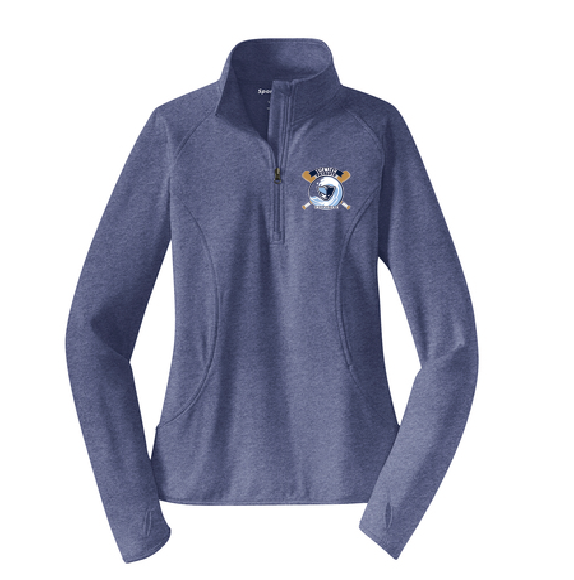 Ladies Sport-Wick Stretch 1/2-Zip Pullover / True Royal Heather/ Tidewater Baseball - Fidgety