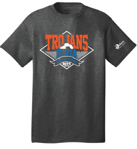 Trojans Boys Soccer Short Sleeve T-Shirt / Dark Heather Gray / Plaza Soccer - Fidgety