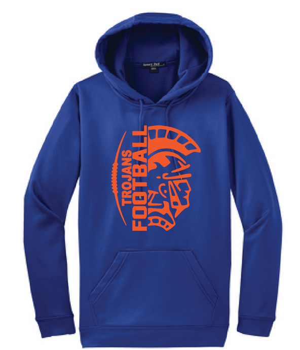 Trojans Football Fleece Hooded Sweatshirt / Royal / Plaza Football - Fidgety
