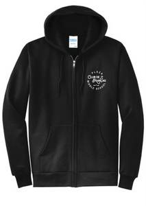 Fleece Full-Zip Hooded Sweatshirt (Youth & Adult) / Black  / Plaza French Club