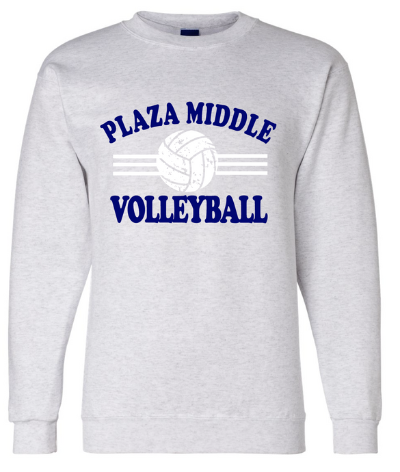 Fleece Crew neck Sweatshirt (Youth & Adult) / Athletic Gray / Plaza Volleyball