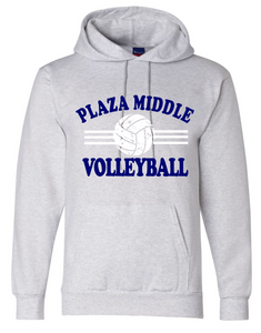 Fleece Hooded Sweatshirt (Youth & Adult) / Athletic Gray / Plaza Volleyball