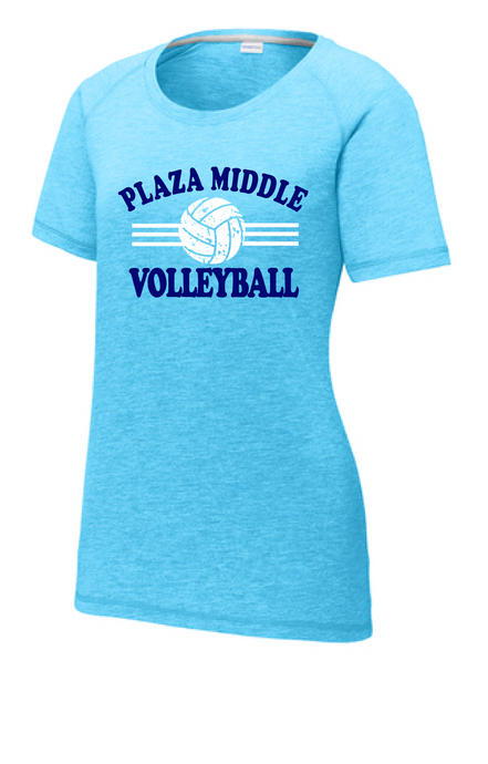 Ladies Tri-Blend Wicking Scoop Neck Tee / Heather Blue / Plaza Volleyball