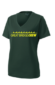 Ladies PosiCharge RacerMesh V-Neck Tee / Heather Gray / Great Bridge Crew - Fidgety
