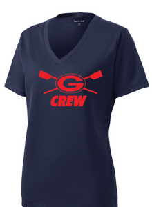 Ladies PosiCharge RacerMesh V-Neck Tee / Dawn Blue / Grassfield Crew - Fidgety