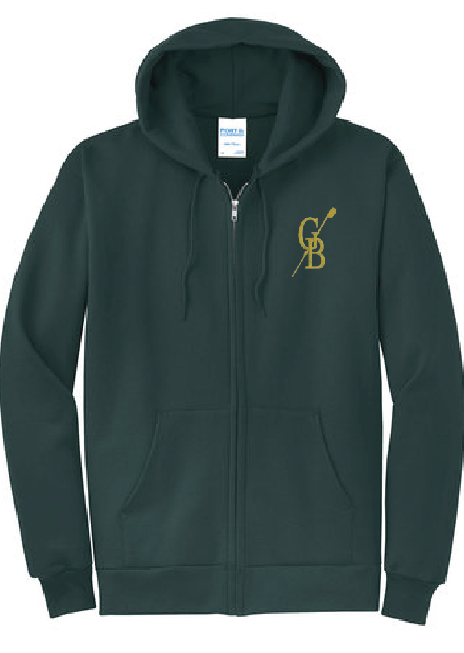 Fleece Full-Zip Hooded Sweatshirt / Dark Green / Great Bridge Crew - Fidgety