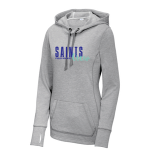 Ladies PosiCharge Tri-Blend Wicking Fleece Hooded Pullover/ Light Heather Gray / Saints Crew - Fidgety