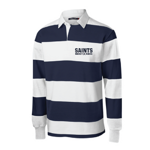 Classic Long Sleeve Rugby Polo / Navy & White / Saints Field Hockey-[product_collection]