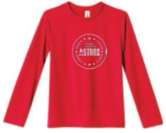 Astros- Red Long Sleeve Tee - Youth - Fidgety