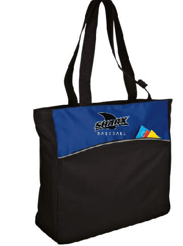 Two-Tone Colorblock Tote Bag - Sharx Baseball - Fidgety