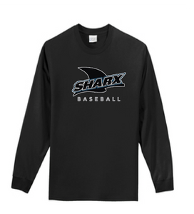 Long Sleeve Cotton T-Shirt / Jet Black / Sharx Baseball - Fidgety