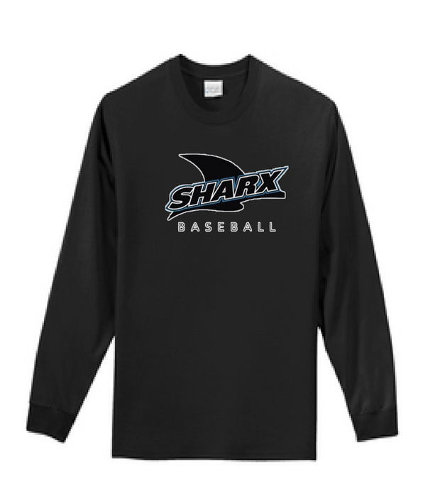 Long Sleeve Navy T-Shirt - Sharx Baseball - Fidgety