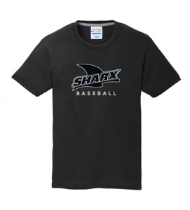 Short Sleeve Cotton T-shirt / Jet Black / Sharx Baseball - Fidgety