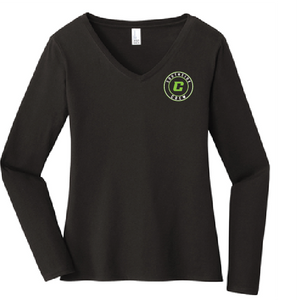 Ladies Long Sleeve softstyle V-Neck Tee / Black / Southside Crew