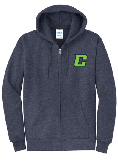 Fleece Full-Zip Hooded Sweatshirt (Youth & Adult) / Navy / Southside Crew