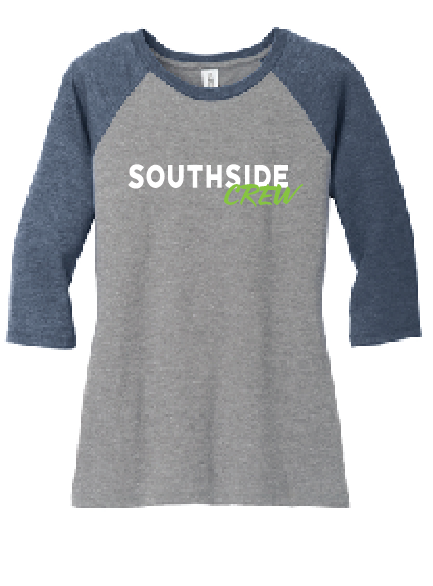 3/4-Sleeve Raglan Tee / Athletic Heather & Navy / Southside Crew