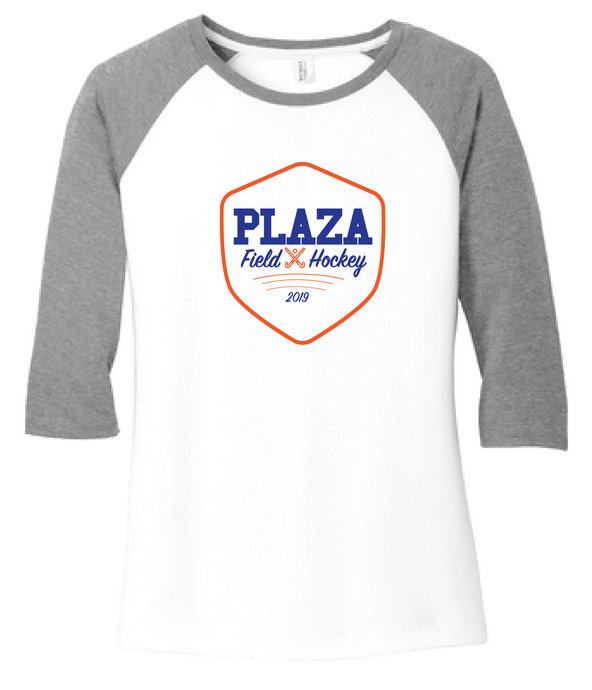 Baseball 3/4 Sleeve Tee / White & Gray / Plaza Field Hockey - Fidgety