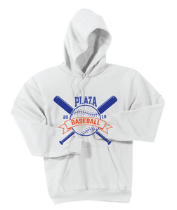 Fleece Pullover Hooded Sweatshirt / White / Plaza Baseball - Fidgety