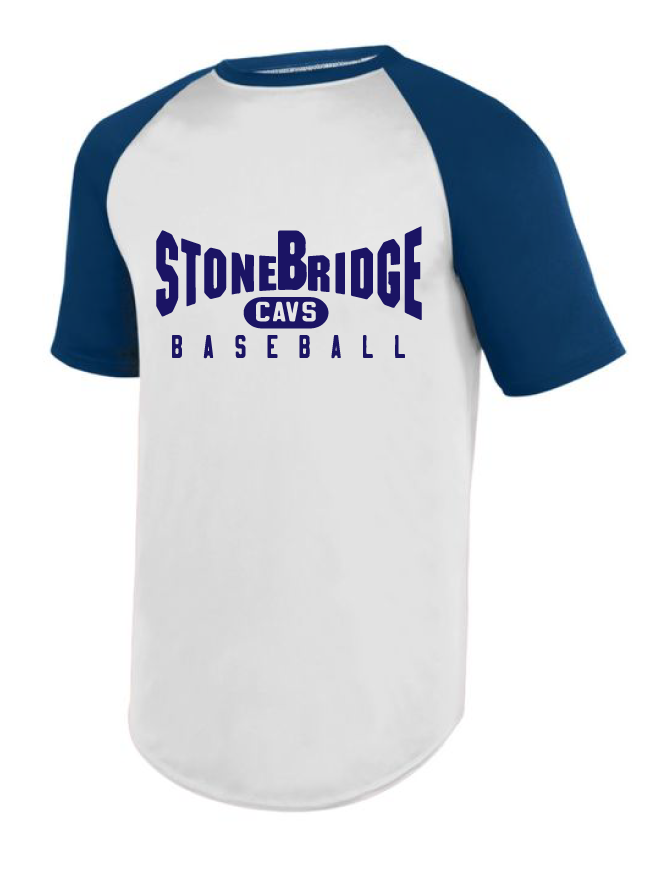 Practice Baseball Jersey (Youth & Adult) / White & Navy / StoneBridge Baseball