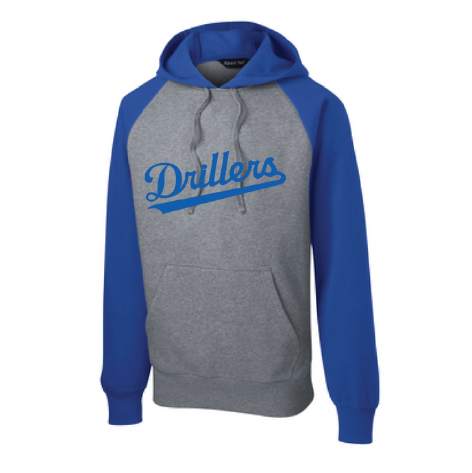 Raglan Colorblock Pullover Hooded Sweatshirt / True Royal and Vintage Heather / Tidewater Drillers - Fidgety