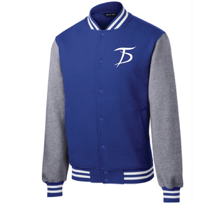 Fleece Letterman Jacket / True Royal and Vintage Heather  / Tidewater Drillers - Fidgety