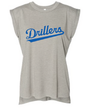 Women's Flowy Muscle Tee With Rolled Cuffs / Heather Stone / Tidewater Drillers - Fidgety