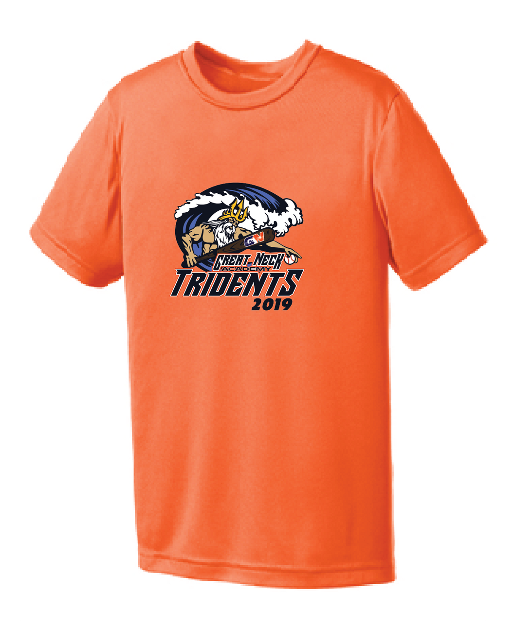 Youth Performance Tee/ Neon Orange/ Tridents - Fidgety