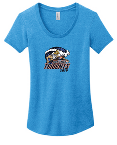 Women's Fitted Tee Scoop Neck / Heather Turquoise / Tridents Baseball - Fidgety