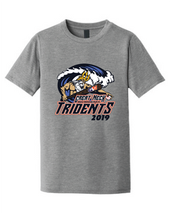 Adult Triblend Crew T-Shirt / Gray Frost / Tridents Baseball - Fidgety