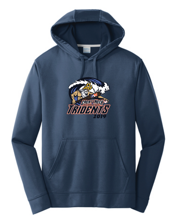 YOUTH Performance Fleece Pullover Hooded Sweatshirt / Navy / Tridents - Fidgety