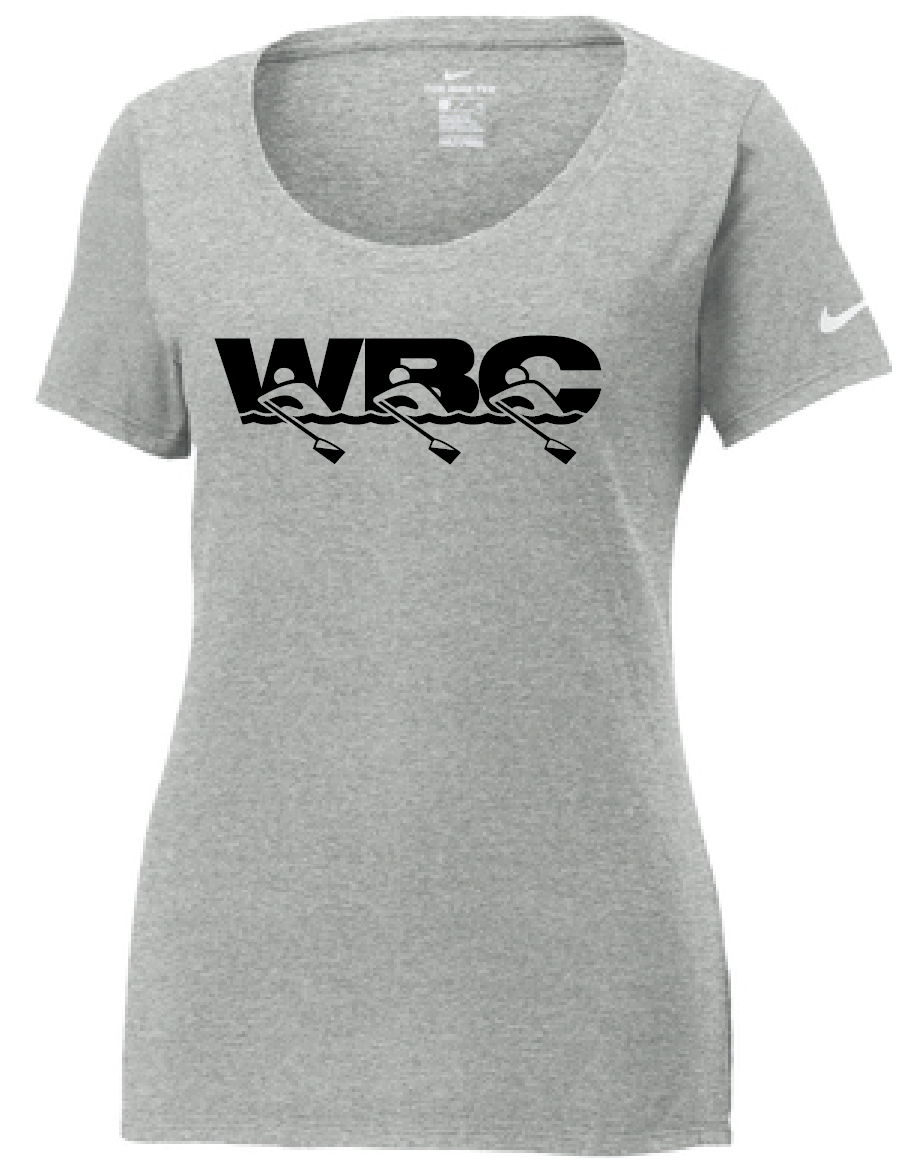 Nike Ladies Core Cotton Scoop Neck Tee / Dark Grey Heather / WBC - Fidgety