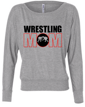 Wrestling Mom Flowy Long Sleeve Off Shoulder Tee / Heather Gray / Wrestling - Fidgety