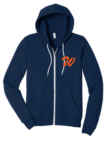 Unisex Sponge Fleece Full-Zip Hoodie / Navy / Wahoos