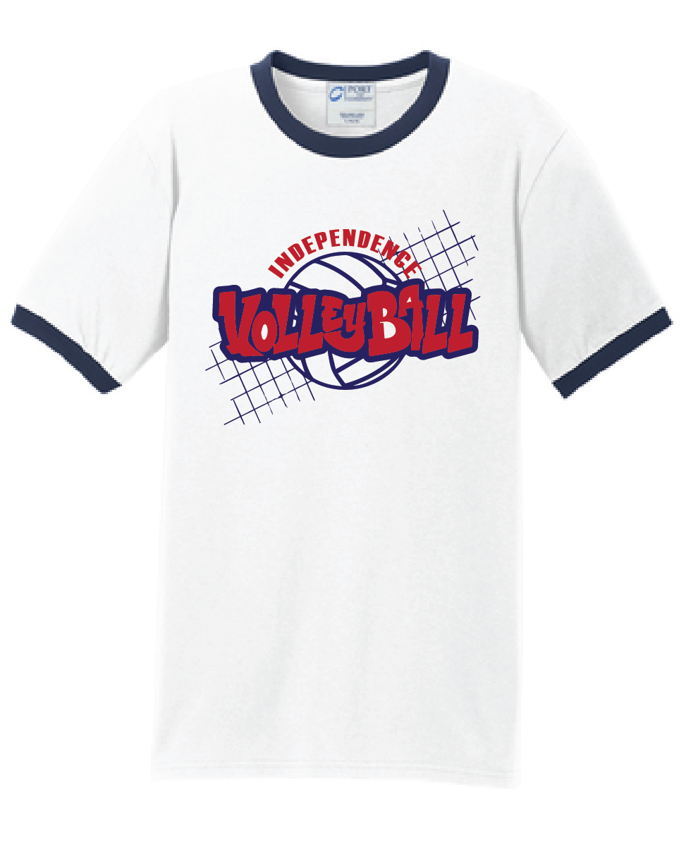 Ringer T-Shirt /  White & Navy / Independence Volleyball - Fidgety