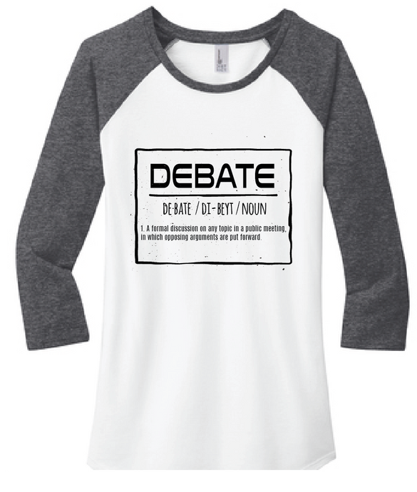 Debate 3/4 Sleeve Raglan Tee / White & Heather Navy / Larkspur Debate - Fidgety
