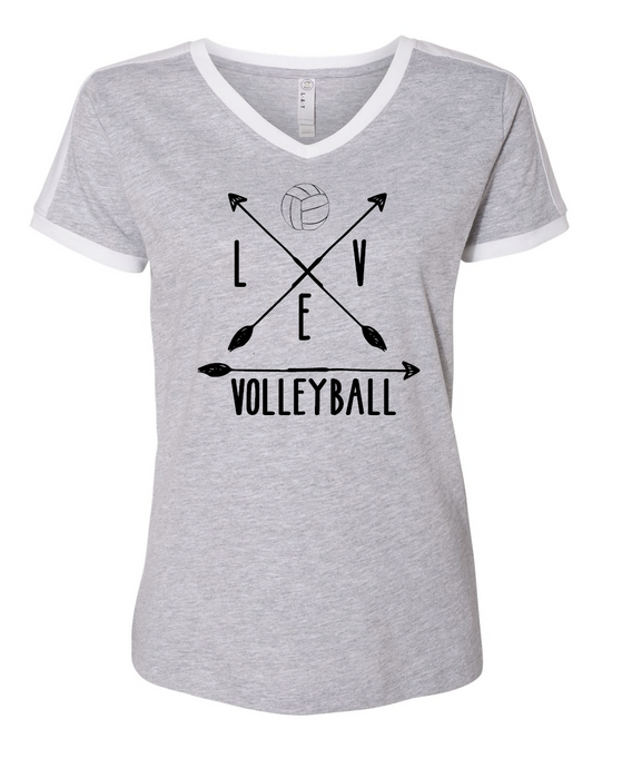 V-Neck Short Sleeve Shirt / Gray & White / Volleyball - Fidgety
