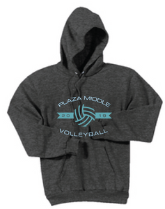Volleyball Fleece Hooded Sweatshirt / Heather Navy / Plaza Volleyball - Fidgety