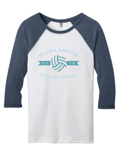 Volleyball 3/4 Sleeve Raglan Tee / White & Heather Navy / Plaza Volleyball - Fidgety