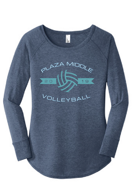 Women's Triblend Long Sleeve Tunic Tee / Navy Frost / Plaza Volleyball - Fidgety