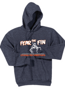Fear The Fin Fleece Hooded Sweatshirt / Heather Navy / Lynnhaven Wrestling - Fidgety